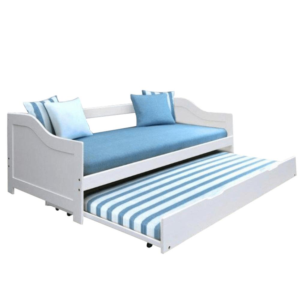 Ágy mellékággyal, tűnyalábos fenyőfa/fehér, 90x200, INTRO