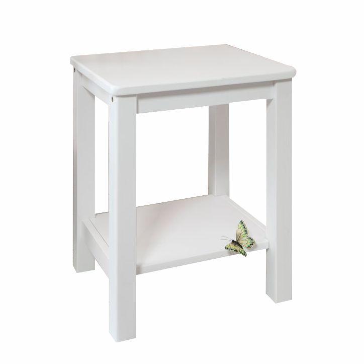 Nočný stolík, drevo/biela, FOSIL