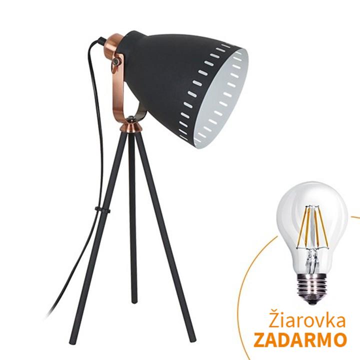 Stolná lampa, čierna, TORINO WA002-B, na bielom pozadí