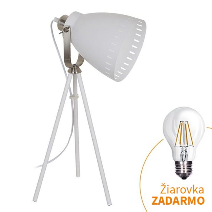 Stolná lampa, biela, TORINO WA002-W, na bielom pozadí