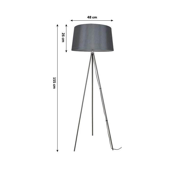 Stojacia lampa, matná sivá, MILANO WA004-G, s rozmermi