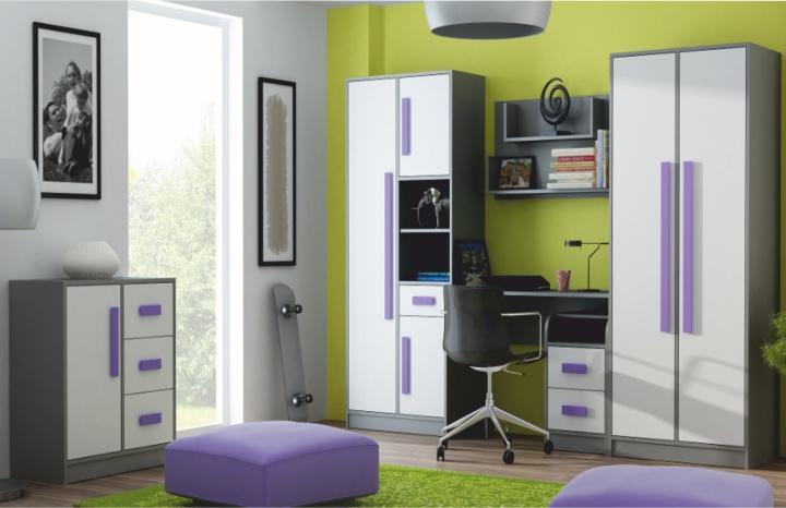Sektorový nábytok Piere biela/fialová/sivá