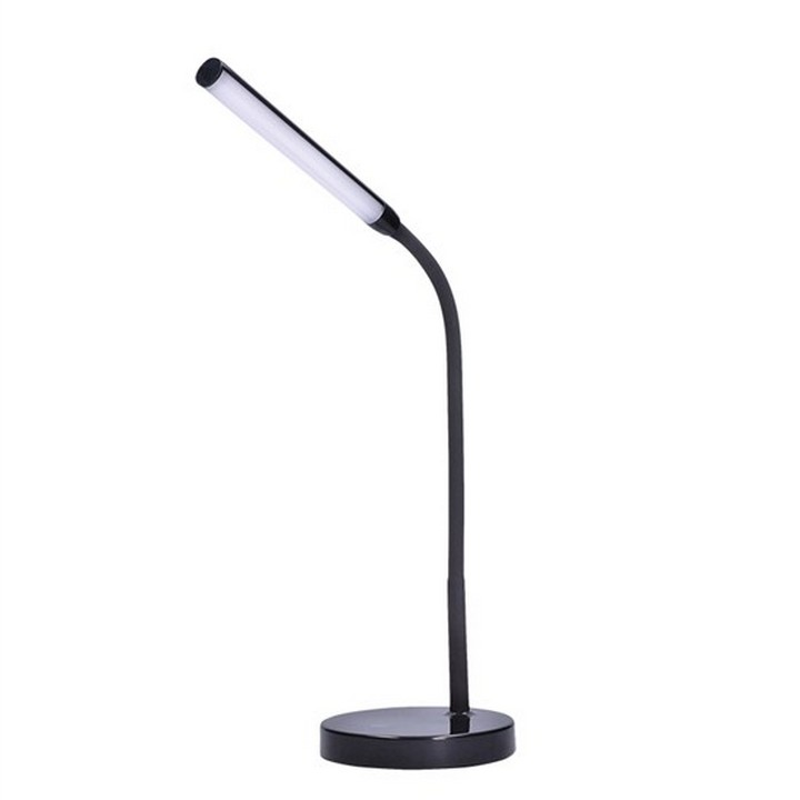 Stolná LED lampa, čierna, na bielom pozadí, WO52-B