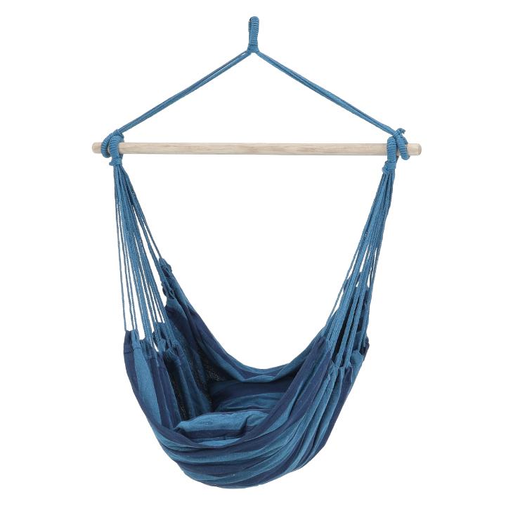 Závesné hojdacie kreslo, modrá, 65%bavlna, 35% polyester,  NIKOLO