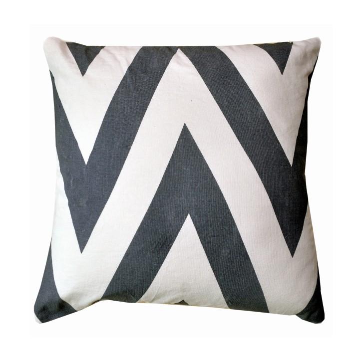 Vankúš, bavlna/vzor sivá/modrá, NOVEL TYP 1, na bielom pozadí