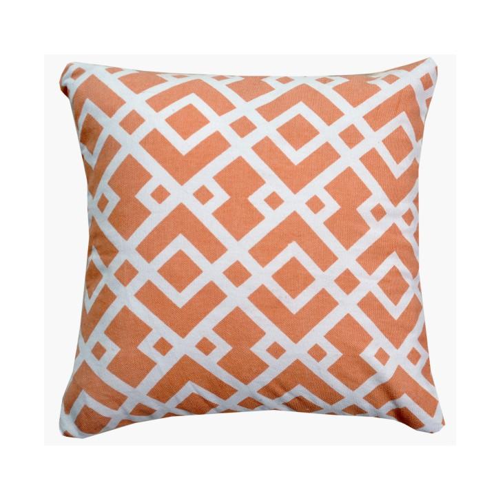 Vankúš, bavlna/vzor oranžová/biela, NOVEL TYP 2, na bielom pozadí