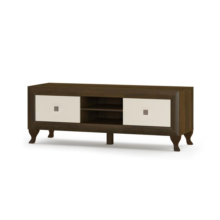 RTV stolík 2S/150, dub sonoma čokoláda/béžový lesk, DTD laminovaná s ABS hranami, MDF dvierka, PARMY