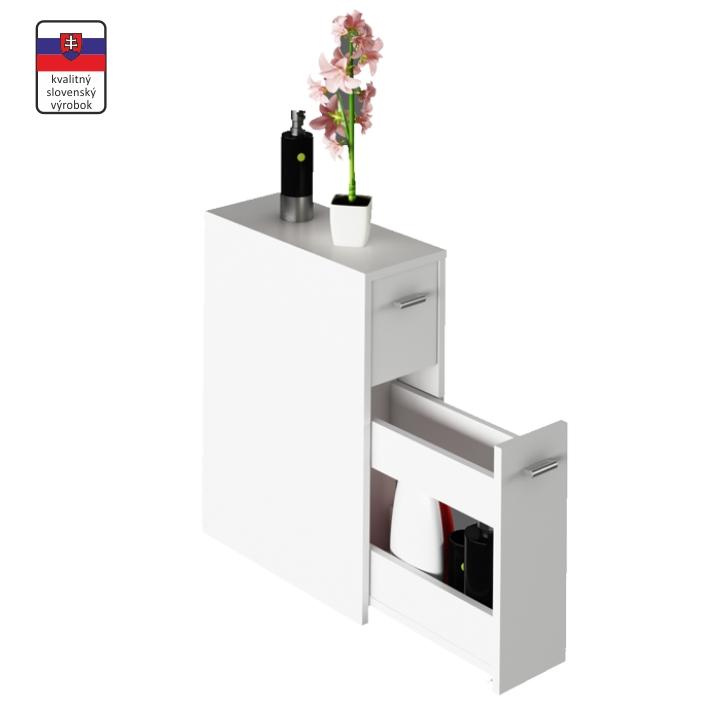 Kúpelňová skrinka, biela, DTD laminovaná, NATALI TYP 7