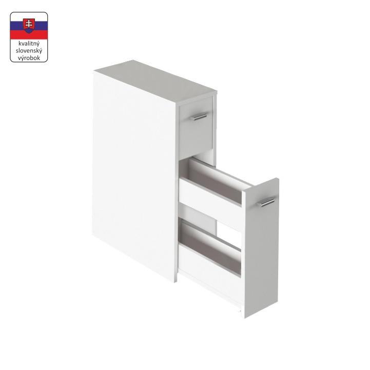 Kúpelňová skrinka, biela, DTD laminovaná, NATALI TYP 7, na bielom pozadí