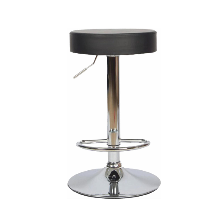 Barová stolička, čierna ekokoža/chróm, ADALIN
