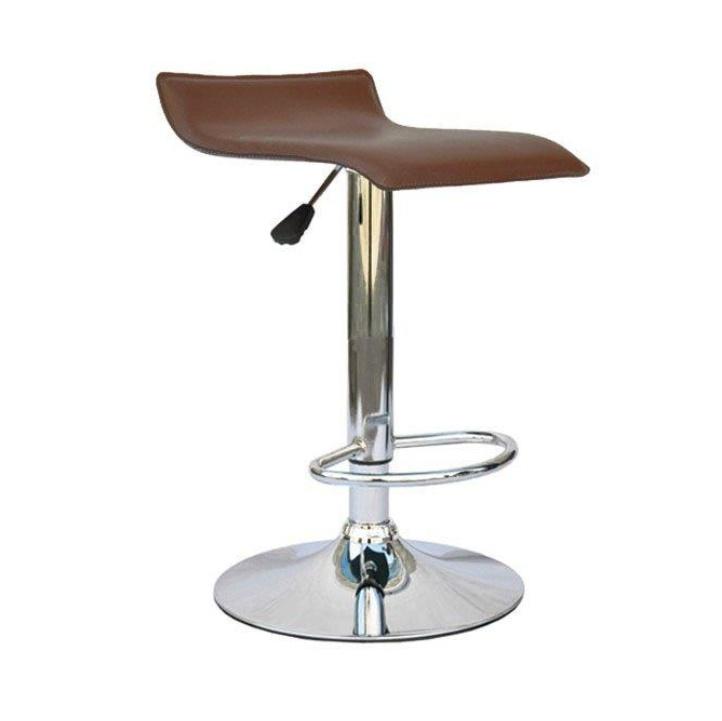 Barová stolička, ekokoža hnedá/chróm, na bielom pozadí, LARIA NEW