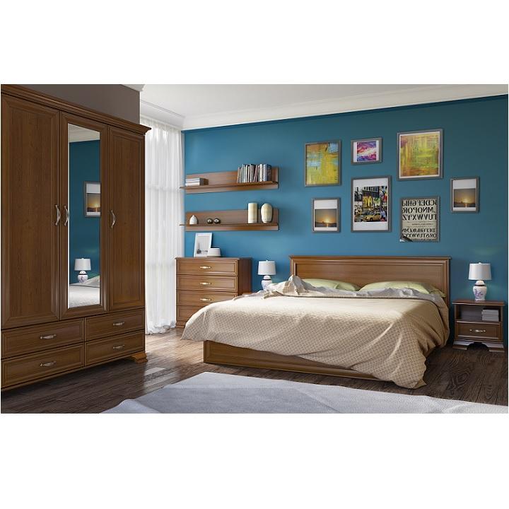 Spálňová zostava ( skriňa, posteľ 160x200cm, 2 nočné stolíky), gaštan,TIFFY