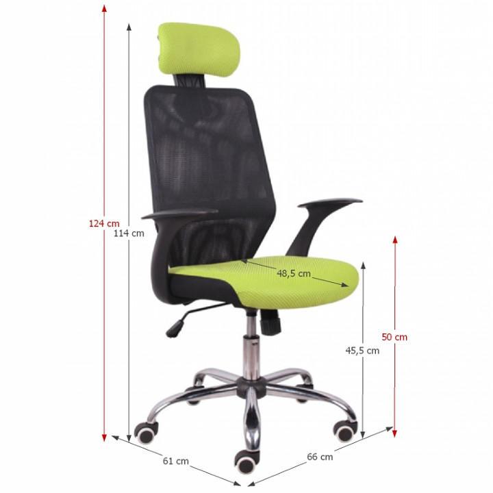 Kancelárska stolička, čierna/zelená, REYES, s rozmermi