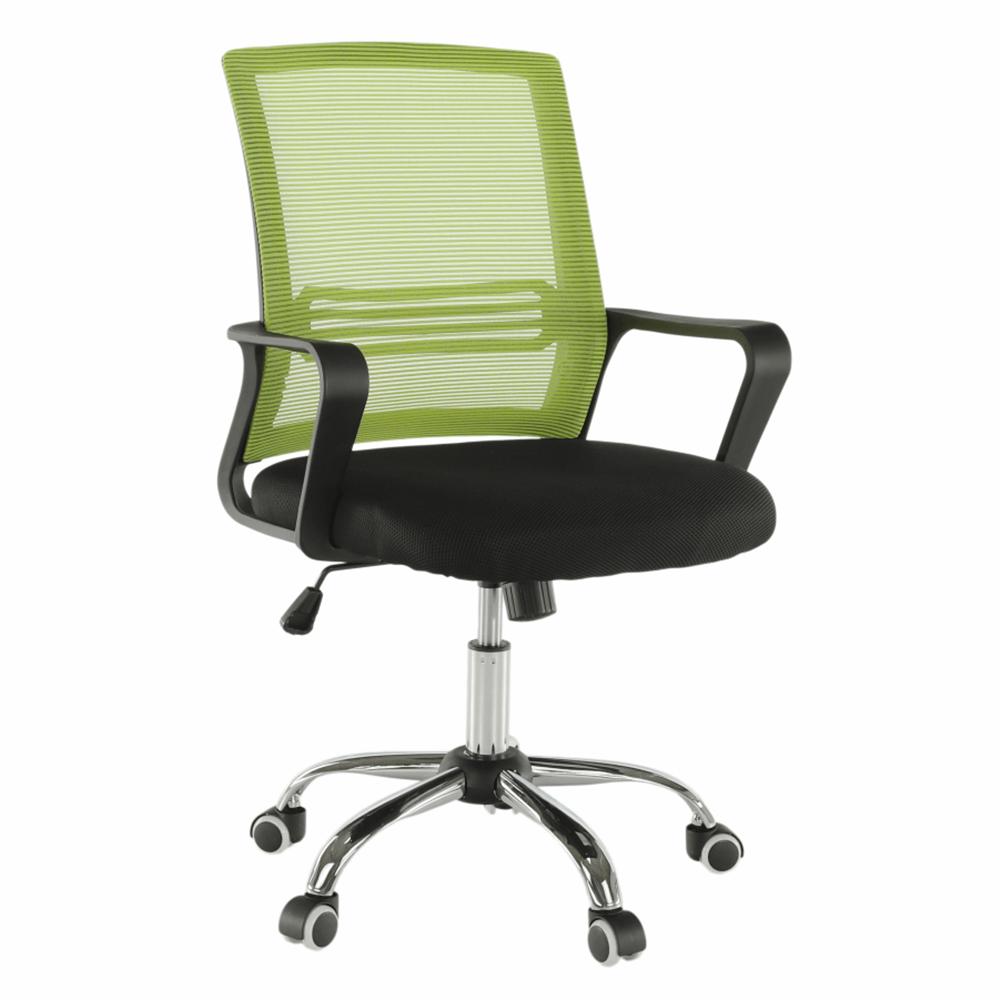Scaun de birou, plasă verde/ţesătură neagră, APOLO