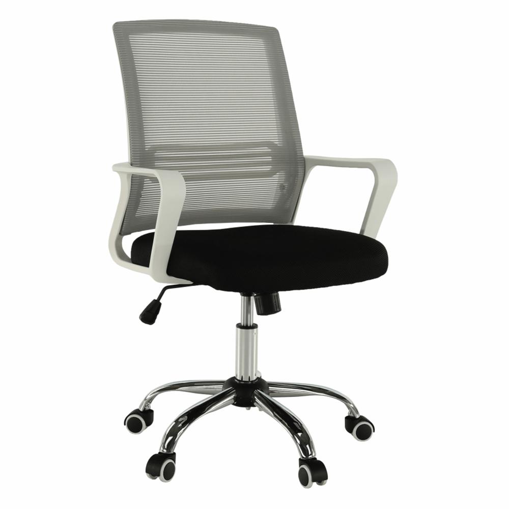 Irodai szék, hálószövet szürke/szövet fekete/műanyag fehér, APOLO