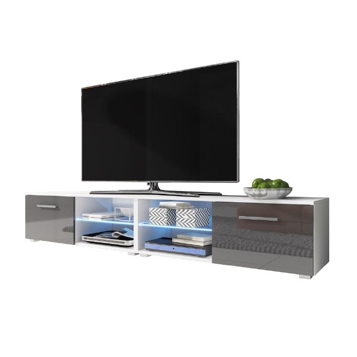 RTV stolík, biela/sivá extra vysoký lesk HG, MOAN