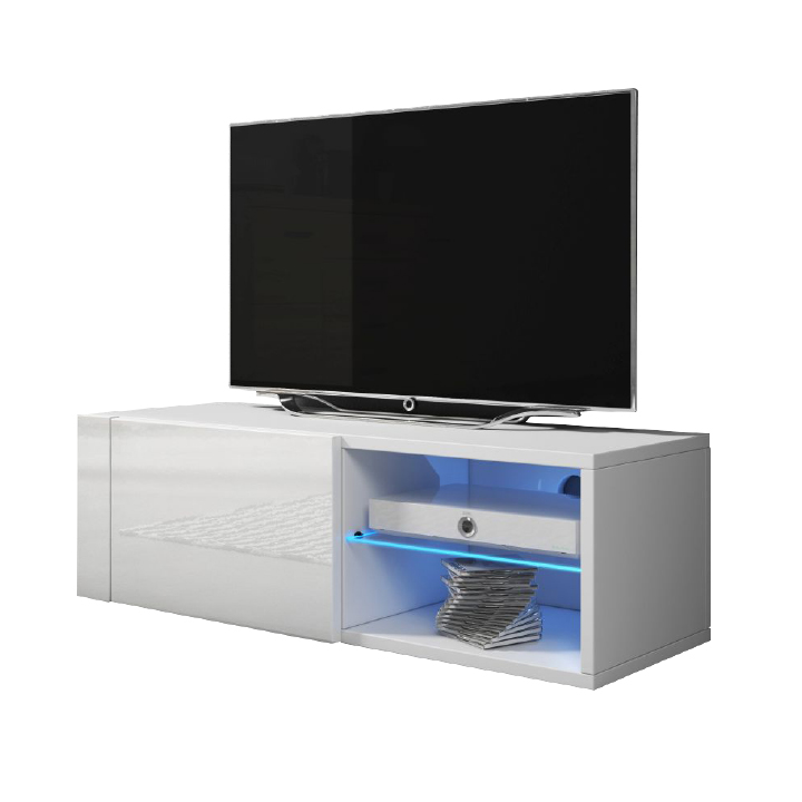 RTV stolík, biela/biela extra vysoký lesk, BESTY
