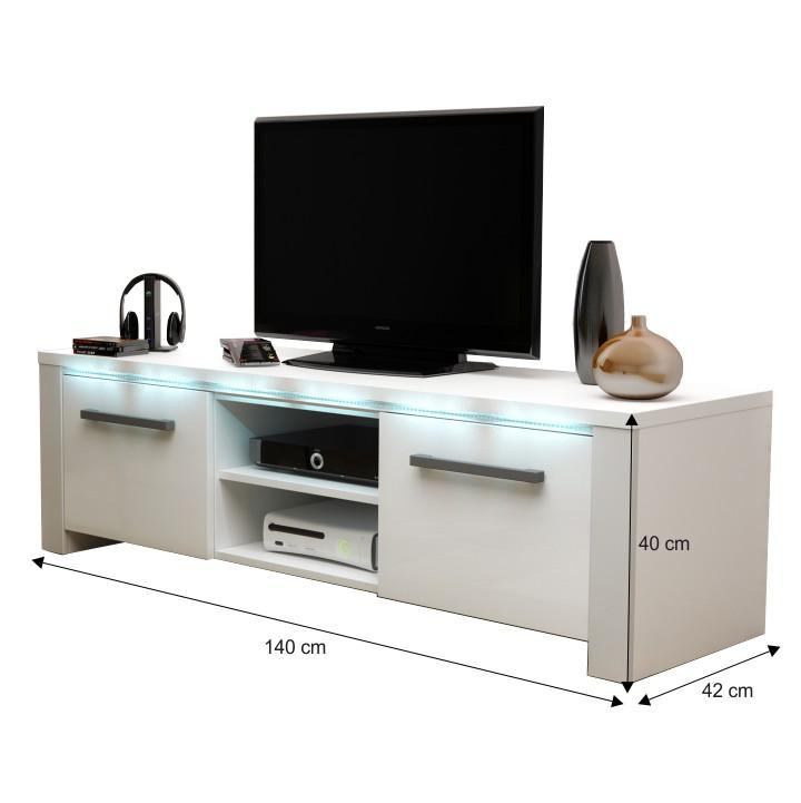 TV stolík, biela/biely extra vysoký lesk, s rozmermi, MANHAN