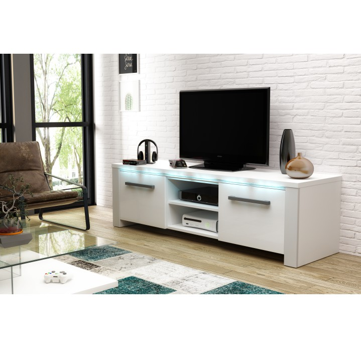 TV stolík, biela/biely extra vysoký lesk, interiérová fotka, MANHAN