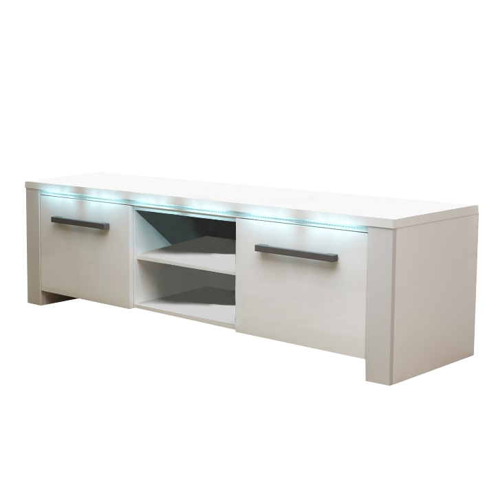TV stolík, biela/biely extra vysoký lesk, na bielom pozadí, MANHAN