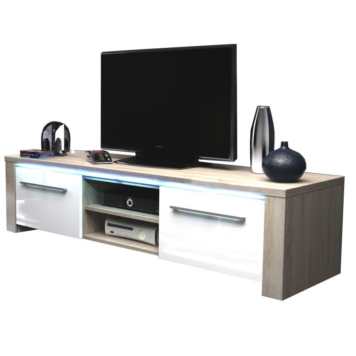 TV stolík, dub sonoma/biely extra vysoký lesk, MANHAN