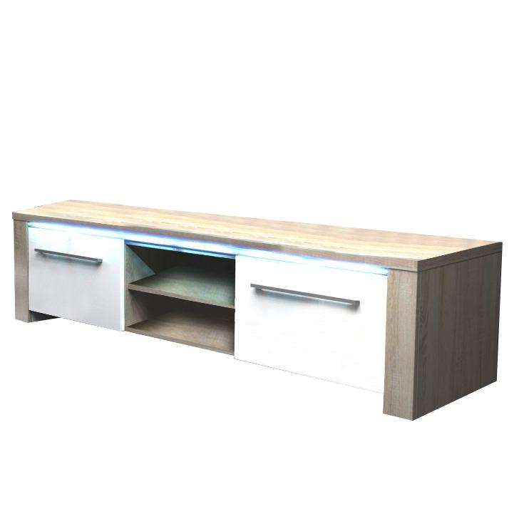 TV stolík, dub sonoma/biely extra vysoký lesk, na bielom pozadí, MANHAN