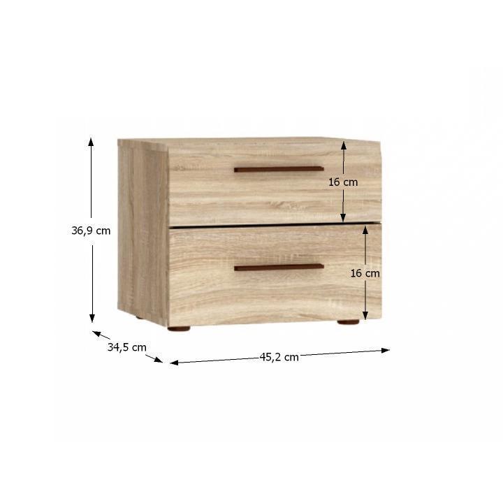 Nočny stolík, dub sonoma, s rozmermi, KOMBINO CMBK01