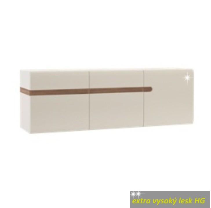 Visiaca skrinka, biela extra vysoký lesk/dub sonoma tmavý truflový, na bielom pozadí, LYNATET TYP 67