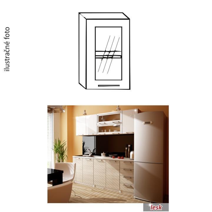 Kuchynská skrinka, ľavá, strieborné orámovanie/sklo, ilustračná fotka, ITA GW-40