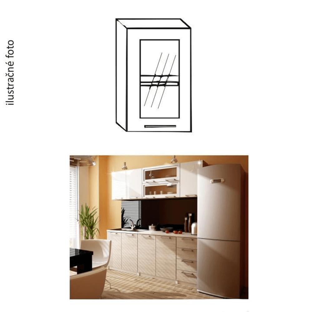 Dulap bucătărie, stâng, ramat argintiu/sticlă, ITA GW-40