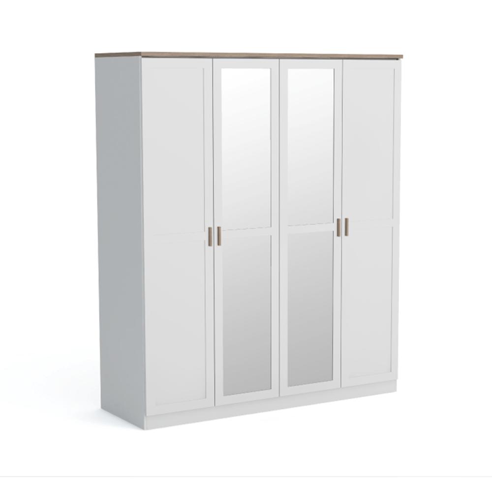 Dulap cu 4 uşi, alb/stejar wotan, ANICEA