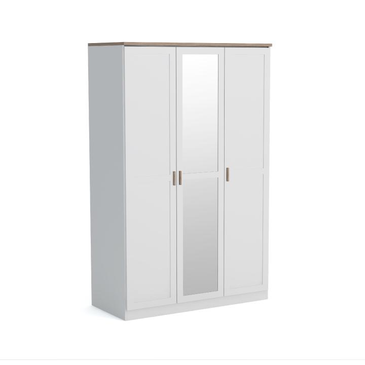 3-dverová skriňa, biela/dub wotan, ANICEA