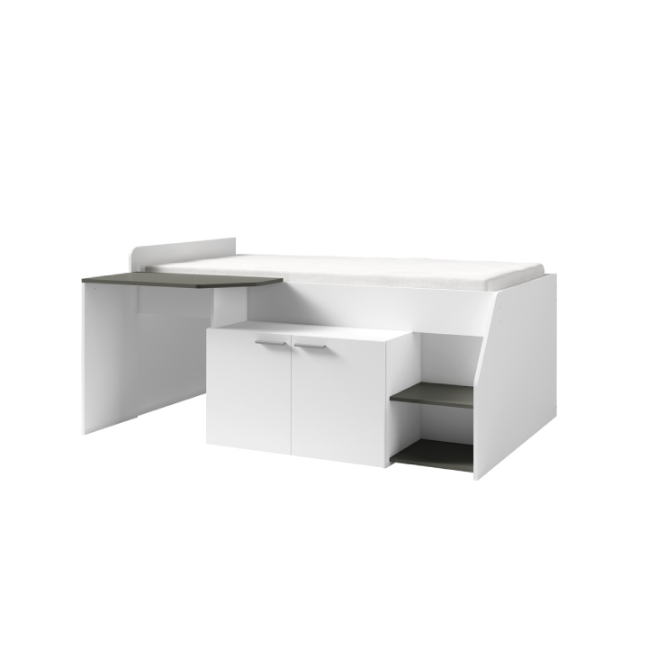 Kombinovaná posteľ, biela/grafit, SOME