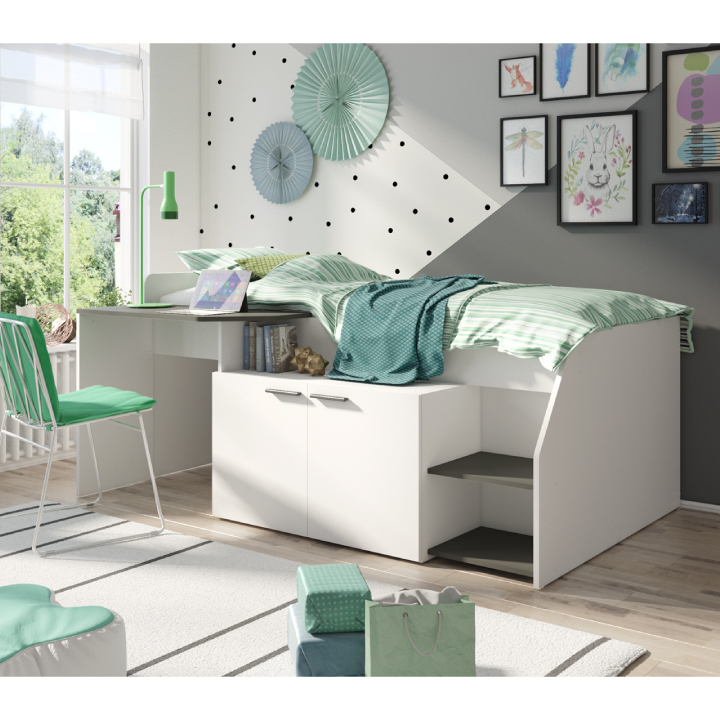 Kombinovaná posteľ, biela/grafit, SOME, interiér