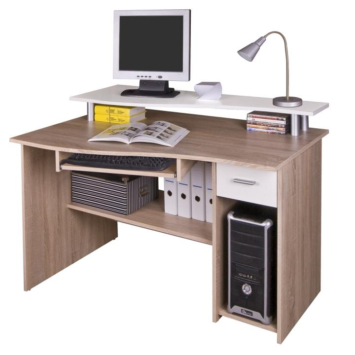PC stolík, dub sonoma/biela, PLUTO, na bielom pozadí