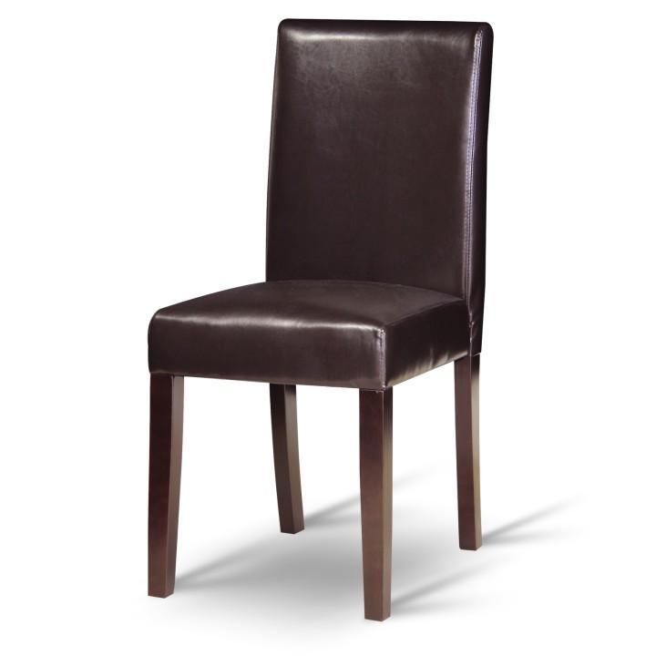 Jedálenská stolička, tmavohnedá ekokoža/drevo, VIVA NEW, vzorový tovar