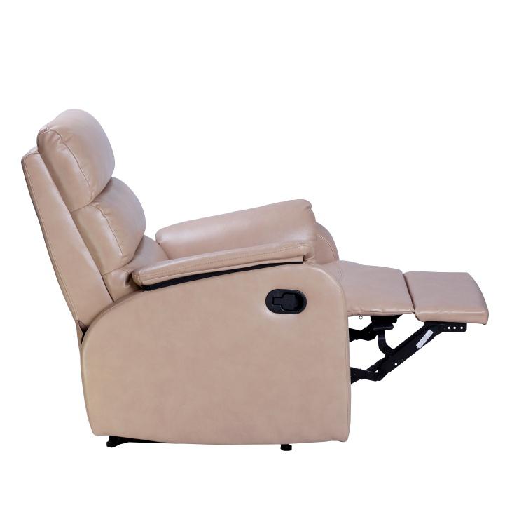 Relaxačné kreslo, béžová ekokoža, polohovacie, VANDEN - rozložené kreslo