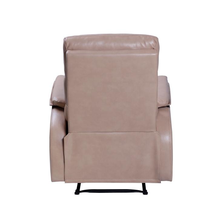 Relaxačné kreslo, béžová ekokoža, chrbát kresla, VANDEN - detail zadnej strany