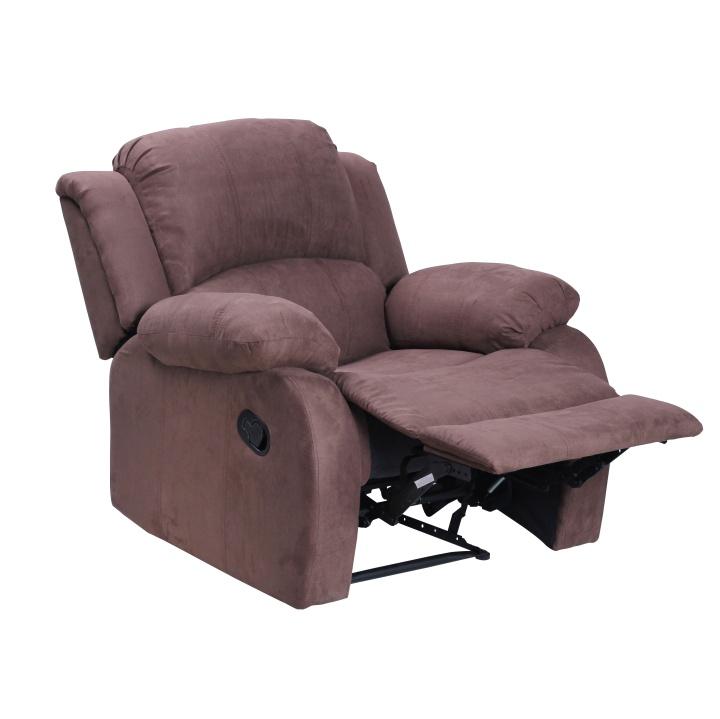 Relaxačné polohovacie kreslo, hnedá látka, ASKOY XR-8001 fotka s rozkladom