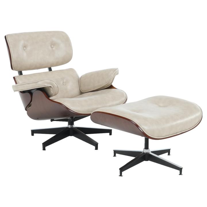 Relaxačné kreslo s podnožou, béžová, KAITIR