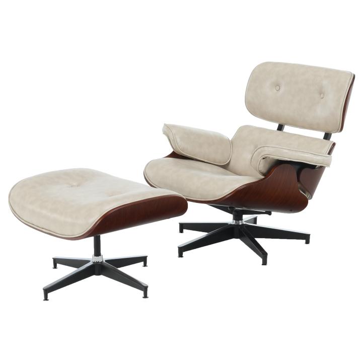 Relaxačné kreslo s podnožou, béžová, z praveho boku KAITIR