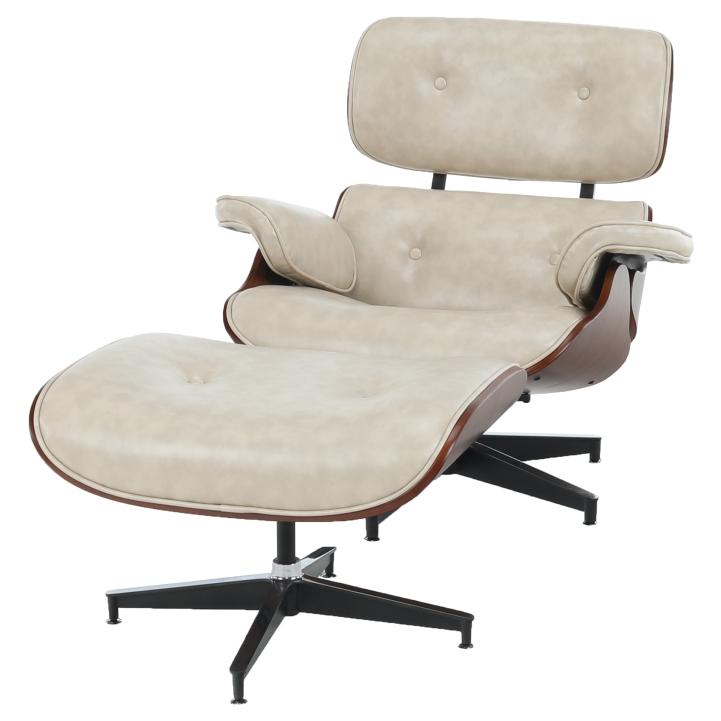 Relaxačné kreslo s podnožou, béžová, spredu KAITIR