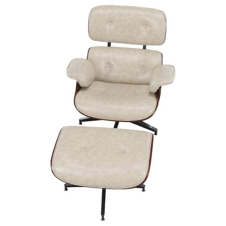 Relaxačné kreslo s podnožou, béžová, zhora KAITIR