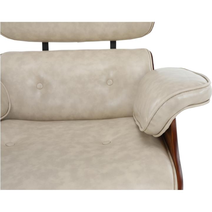 Relaxačné kreslo s podnožou, béžová, detail opierky na ruku KAITIR