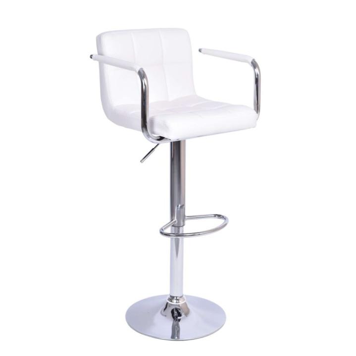 Barová stolička, biela ekokoža/chróm, na bielom pozadí, LEORA New