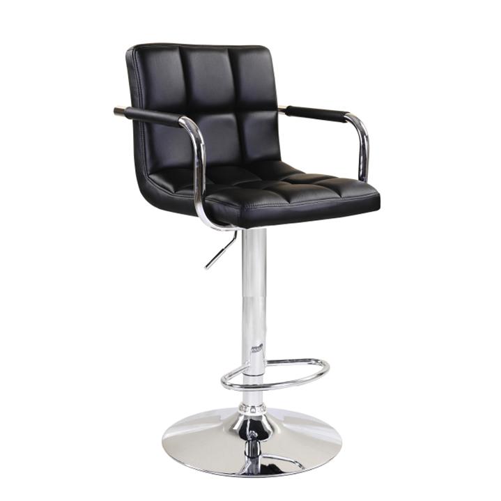 Barová stolička, čierna ekokoža/chróm, na bielom pozadí, LEORA NEW