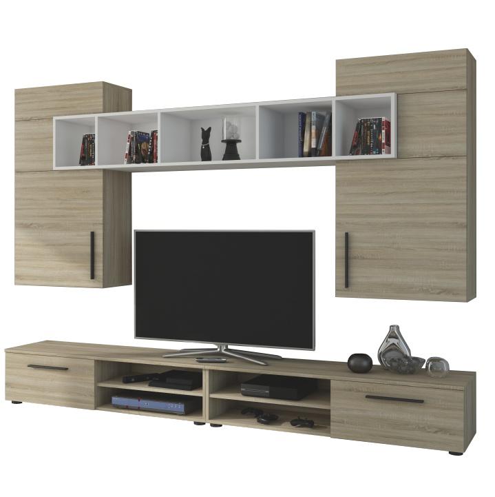 Obývacia stena, dub sonoma/biela, BETIM - fotka na bielom pozadí