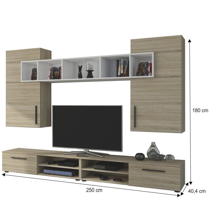 Obývacia stena, dub sonoma/biela, BETIM - fotka s rozmermi