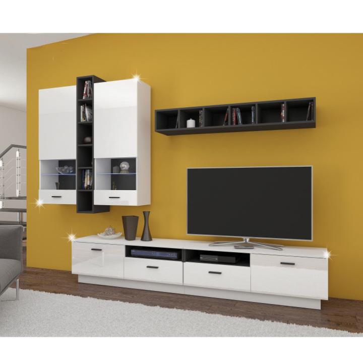 Obývacia stena, biela/čierna/biely lesk, LUCK