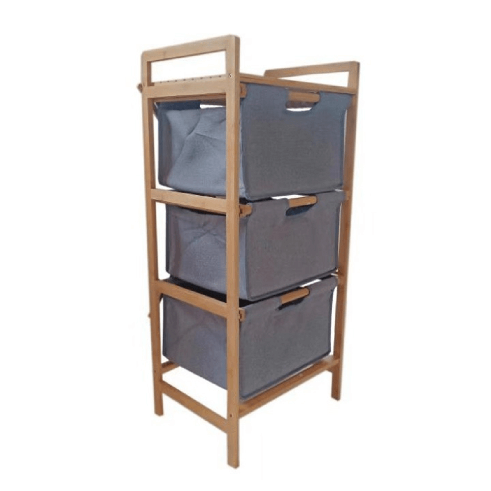 Raft, bambus lăcuit/material gri, REGISA TYP 1